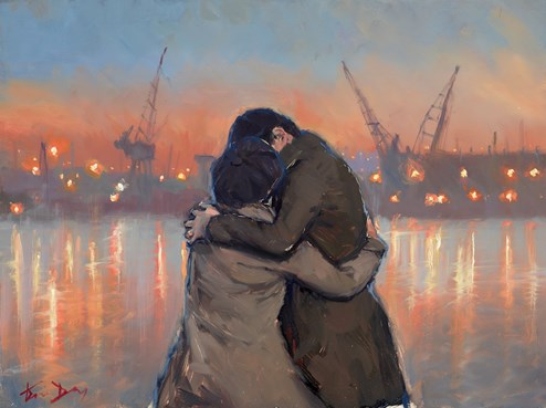 River Kiss by Kevin Day - Original Painting on Board